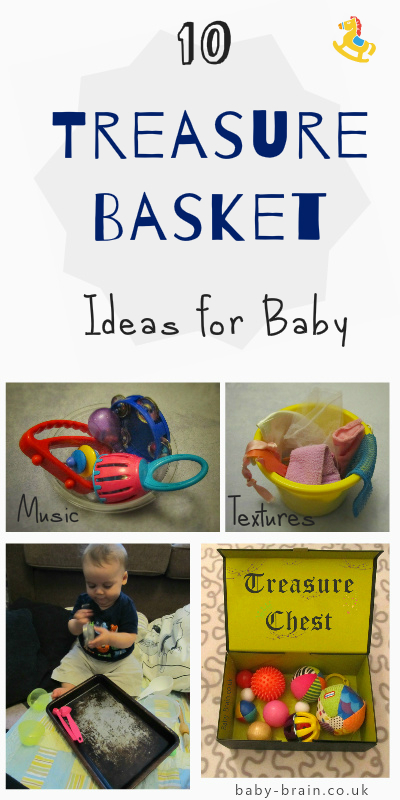 Treasure baskets and heuristic play for baby: quick guide and summary, plus treasure basket ideas, themes, content and how to present ideas. From baby-brain.co.uk