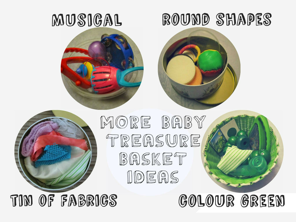 baby treasure basket theme ideas. Heuristic and Sensory play, encourage curiosity and discovery. From baby psychology resource baby-brain.co.uk