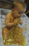 spaghetti food sensory play infant/baby. baby-brain.co.uk psychology perspective, resource, blog, motherhood and babies