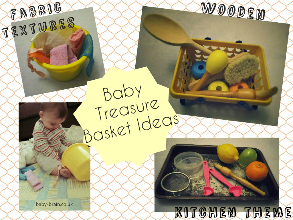 heuristic play, baby treasure basket theme ideas - group by different materials e.g wood, fabric, different textures of fabric, kitchen themes. Heuristic and Sensory play, encourage curiosity and discovery. From baby psychology resource baby-brain.co.uk