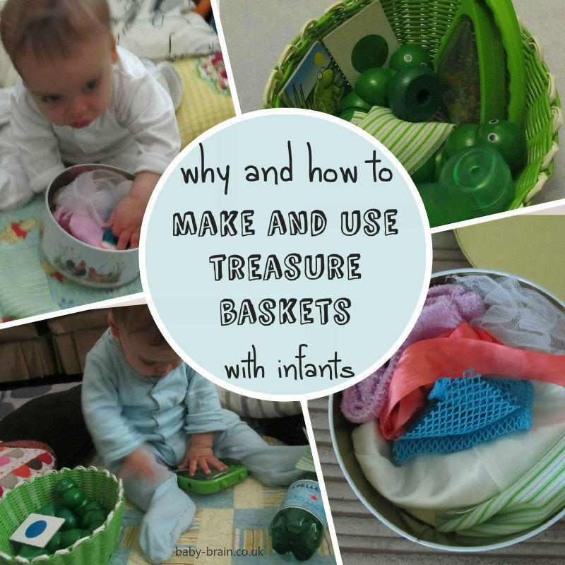 why and how to make and use treasure baskets with infants, and about heuristic play - Baby-Brain.co.uk - Psychology resource and perspective on babies and motherhood