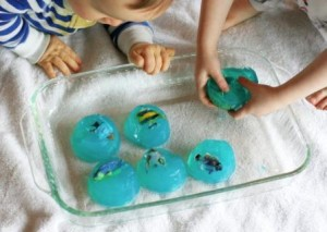 Jelly gelatin play - list of fun sensory play ideas from baby-brain.co.uk