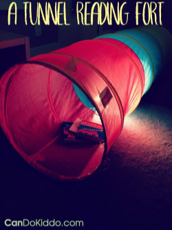 Tunnel Activity Ideas for babies, toddlers, preschoolers, from candokiddo.com: sensory idea, make a tunnel fort with lights!