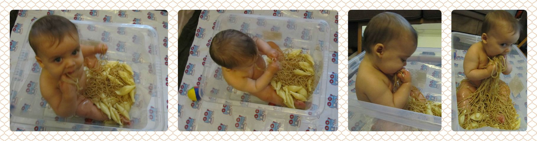 spaghetti food sensory play infant/baby. baby-brain.co.uk psychology perspective, resource, blog, motherhood and babies