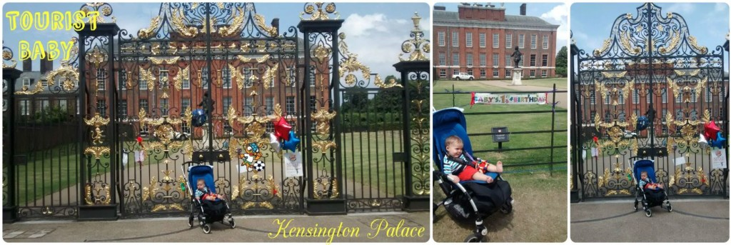 Tourist Baby visits Kensington Place, London. Outside the gates for Prince George's 1st birthday!