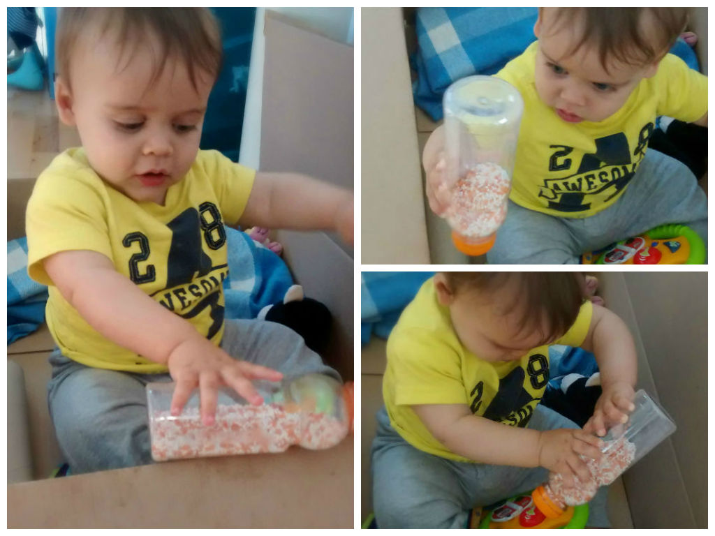 DIY Simple Bottle Shaker Toy: a great sensory activity for baby! Baby-brain.co.uk