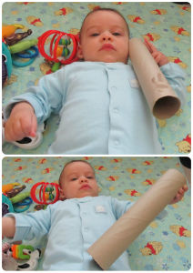 Quick easy baby play & activities: Cardboard tube play ideas. baby-brain.co.uk psychology resource, perspective and blog on motherhood