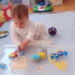 Quick easy baby play & activities: Toy tray play and treasure baskets. baby-brain.co.uk psychology resource, perspective and blog on motherhood