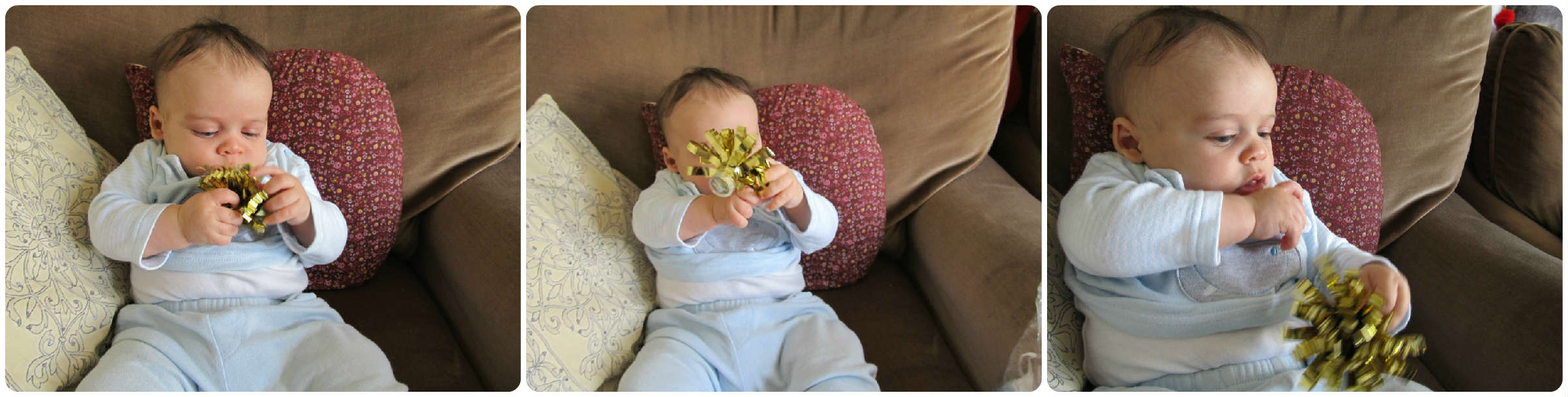 simple baby play ideas and activities: sensory play with easy to hand items. baby-brain.co.uk psychology perspective, resource, blog, motherhood and babies