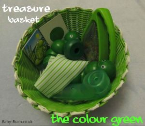 treasure baskets & heuristic play: how, why, what. The colour green.  baby-brain.co.uk