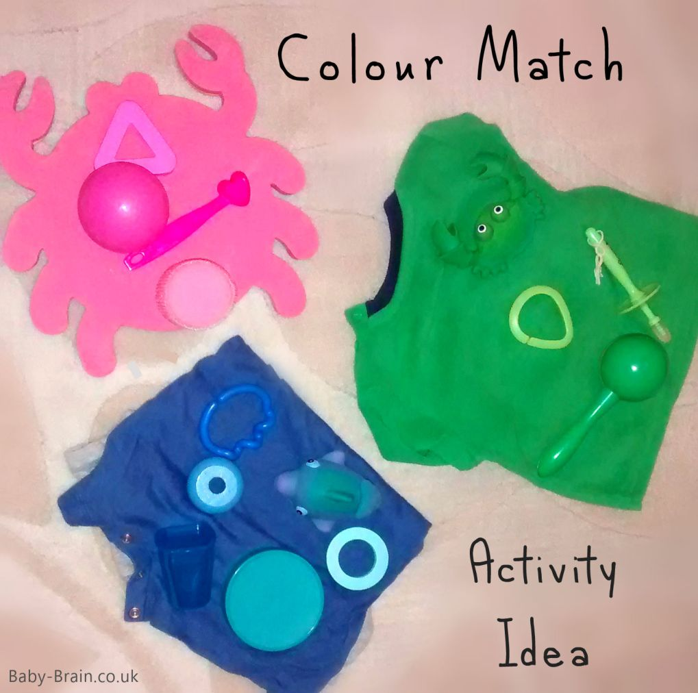 A quick & easy colour match activity to try with baby and toddler, use existing items around the house. baby-brain.co.uk