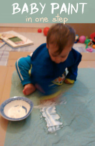 Baby painting with one step & ingredient. Safe and edible and sensory play fun! From baby-brain.co.uk