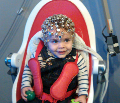 infant psychological research participant @the baby lab. Taking part in the study with EEG hat