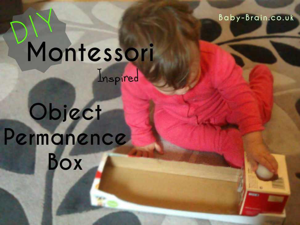 DIY Montessori inspired object permanence box for baby/infants. Costs practically nothing to make. baby-brain.co.uk