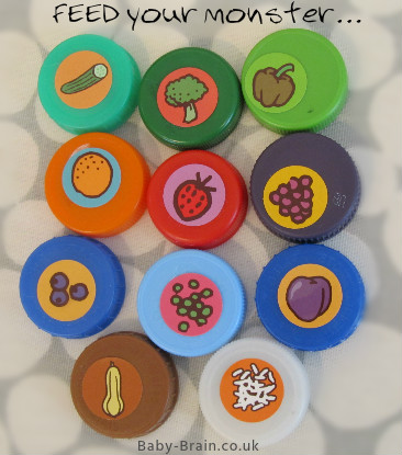 Food to feed your Monster with - lids game - motor skill development - fun baby/toddler activity!