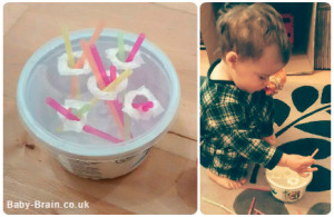 Easy slotting game idea for babies and toddlers - slotting straws