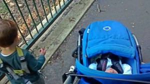 Mum's first day alone with the newborn baby and toddler: Out for a sensory nature walk with toddler & baby