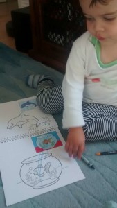 Mum's first day alone with the newborn baby and toddler: Toddler enjoys colouring & crayons activity