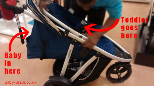 "Phil and Teds ""Vibe"" - Baby and Toddler seating positions - Mission to find a double buggy/stroller/psuchair review. Baby-Brain.co.uk"