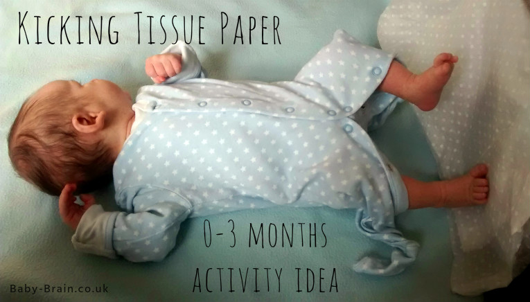 Sensory play idea for newborn and 0-3 months - kicking tissue paper. The psychology of newborn play