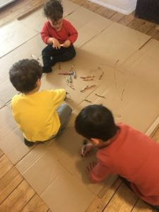Cardboard box drawing - Inside activities for kids! Rainy day, lockdown, isolation - great play ideas for kids, babies, toddlers, preschool