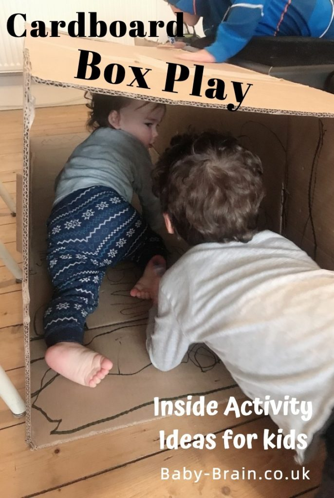 Cardboard box tunnel fun crawling - Inside activities for kids! Rainy day, lockdown, isolation - great play ideas for kids, babies, toddlers, preschool